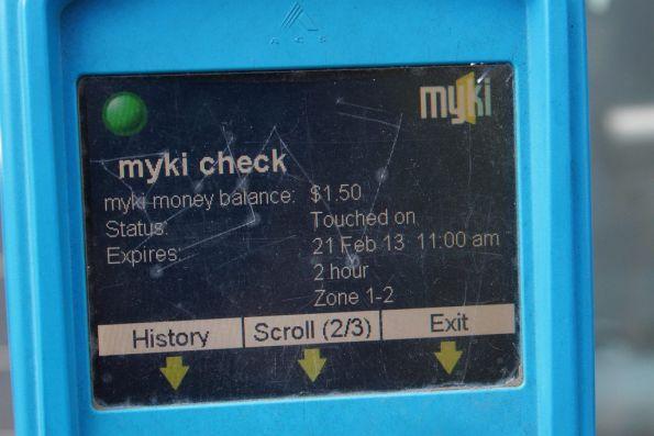 Myki SEM device: status screen 2 of 3 - Myki money