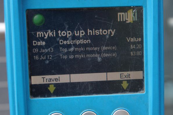 Myki SEM device: top up history