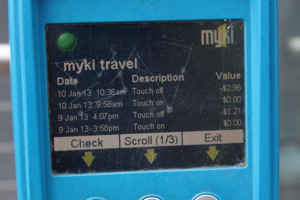 Myki SEM device: travel history screen 1 of 3