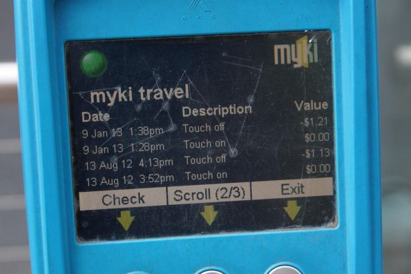 Myki SEM device: travel history screen 2 of 3