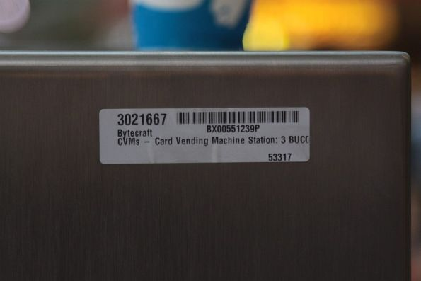 Bytecraft sticker on the back of a ticket machine 'CVMs - Card Vending Machine Station'