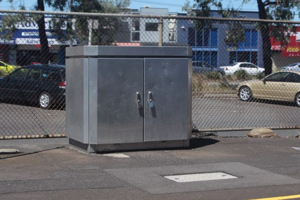 Stainless steel myki equipment box at North Geelong station