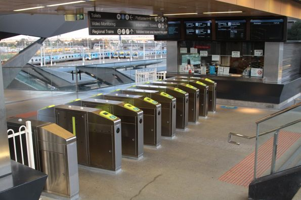 Bank of eight recently installed Myki gates at North Melbourne station