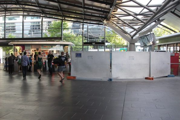 What seems to be work to add more Myki gates to the southern Collins Street entrance at Southern Cross