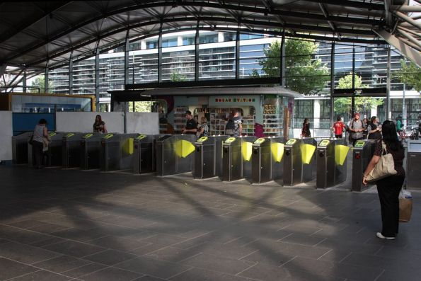 Completed pair of gate arrays at the Collins Street west exit at Southern Cross
