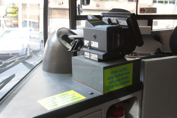 Myki bus drivers console now installed in a Melbourne urban bus