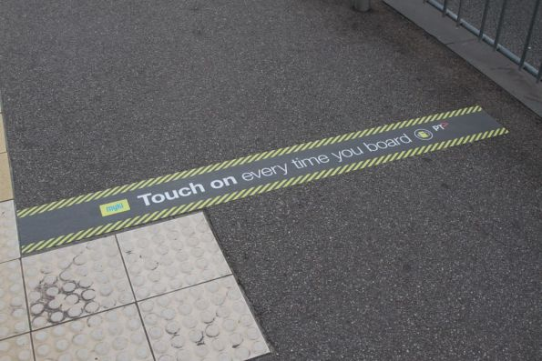 New 'Touch on every time you board' stickers at CBD tram stops