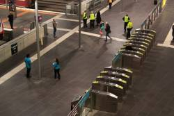 Myki Mates at work on the country platforms at Southern Cross Station