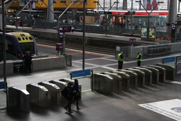 Two banks of Myki gates for the country platforms at Southern Cross