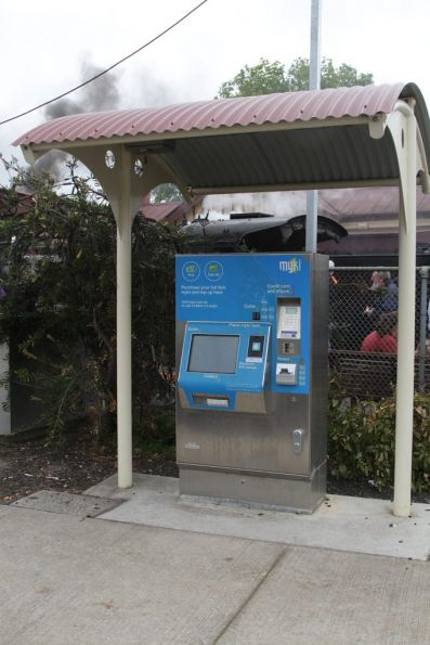 Myki ticket machine under a small shelter at Gisborne station