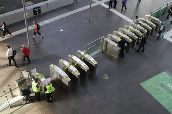 Barrier staff for the country platforms at Southern Cross Station have now been moved to the far end of the gate array