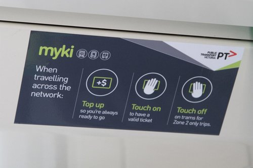 New PTV branded Myki information onboard trams