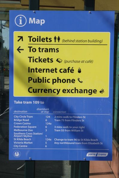 'Tickets (purchase at cafe)' sign at the Port Melbourne route 109 terminus