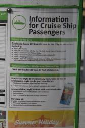 Information for cruise ship passengers at the route 109 terminus in Port Melbourne