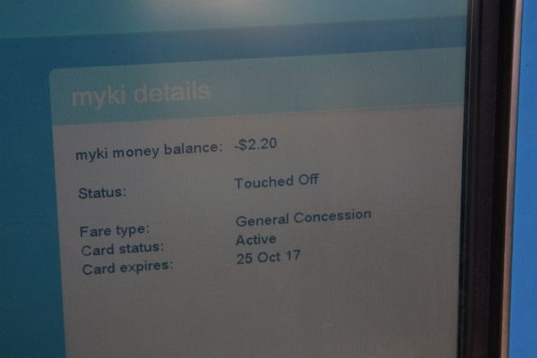 No wonder this myki was thrown out: negative $2.20 balance