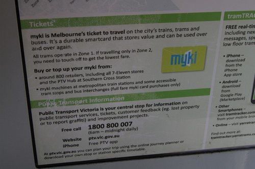 Myki branding as featured on the 2013 version of the Yarra Trams network map onboard trams