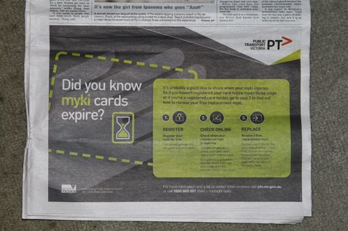 'Did you know myki cards expire?' advertisement featuring the new Myki branding