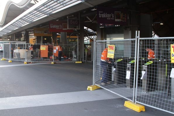 Installing myki gates at the Bourke Street end of the Southern Cross country platforms