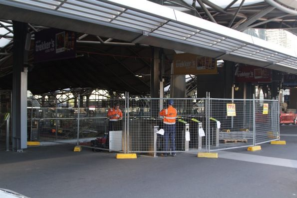 One of two banks of four myki gates at the Bourke Street end of the Southern Cross country platforms