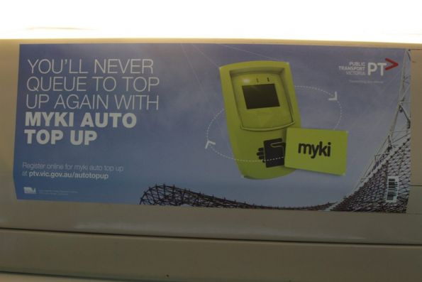 'Myki auto top up' advertisement onboard a tram