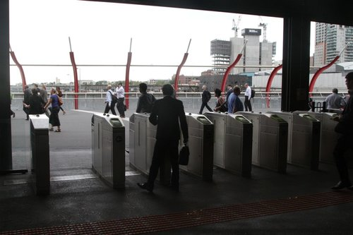 Myki gates at Southern Cross Station all opened, due to the emergency button being pressed