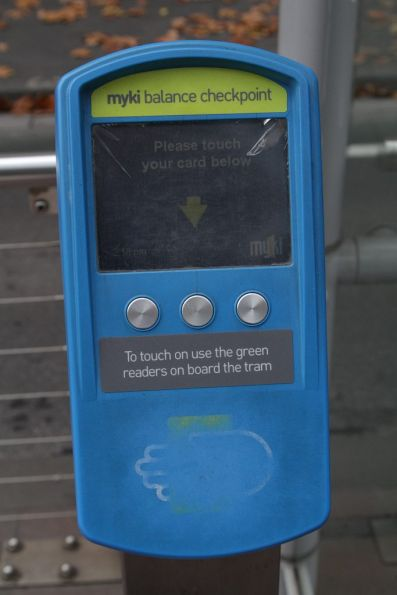Myki check device now with 'This is for checking the balance only' stickers affixed to it