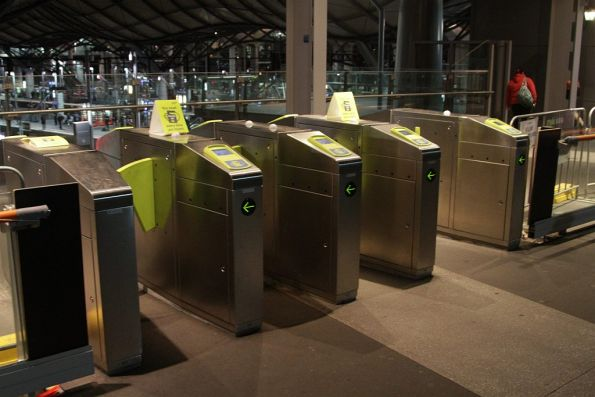 Unpaid side of a set of myki gates set for bi-directional operation
