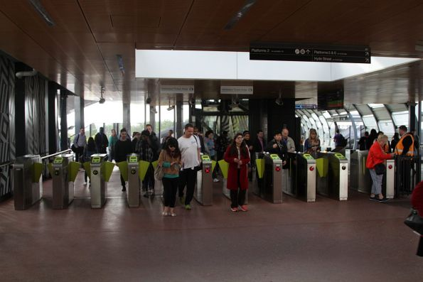 Passenger exit the myki gates from Footscray station platforms 2 and 3