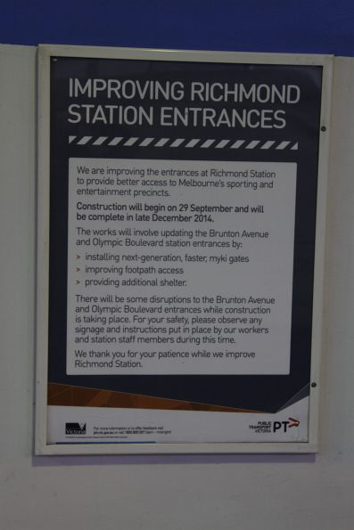 Poster promoting the new myki gates being installed at the Olympic Boulevard and Brunton Avenue entrances to Richmond station
