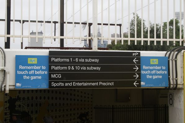 Old-style myki branding still in place at Richmond station
