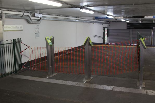 Standalone myki readers still in place at MCG exit at Richmond station