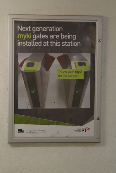Poster promoting the new myki gates retrofitted to Richmond station