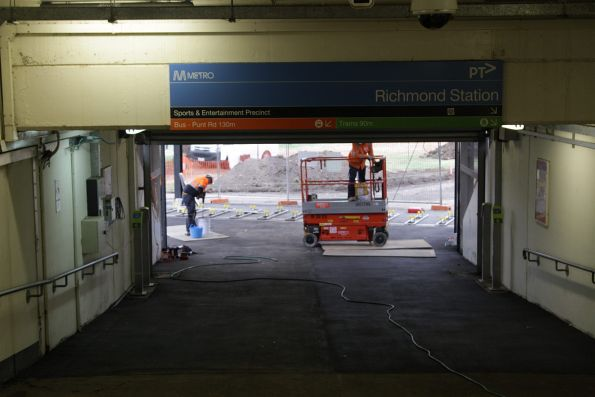 Installing new myki gates at Richmond station's sports and entertainment precinct entrance