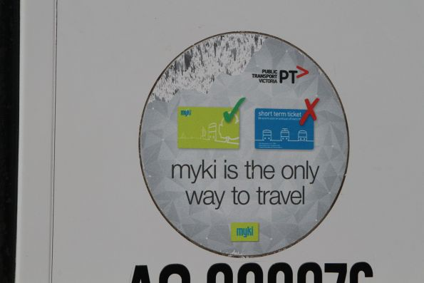 'myki is the only way to travel' sticker on the side of a McHarry's bus