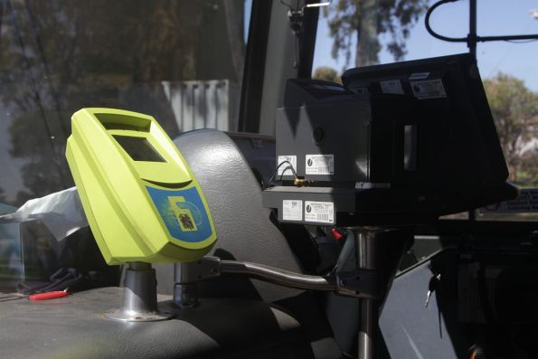 Myki reader and bus driver console onboard a McHarry's road coach