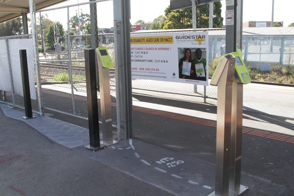 Poles for another two myki readers in place at Hoppers Crossing