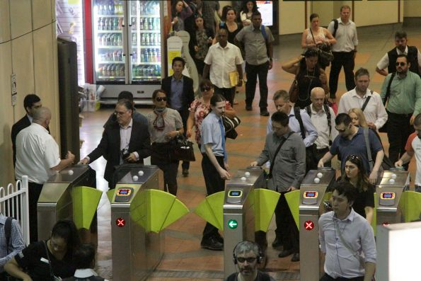 First day of the new Vix myki readers retrofitted to the gates at Flagstaff station