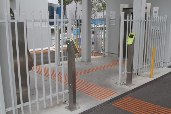 Separate myki readers and ticket machine for the lift entrnace to Westall station platform 2 and 3