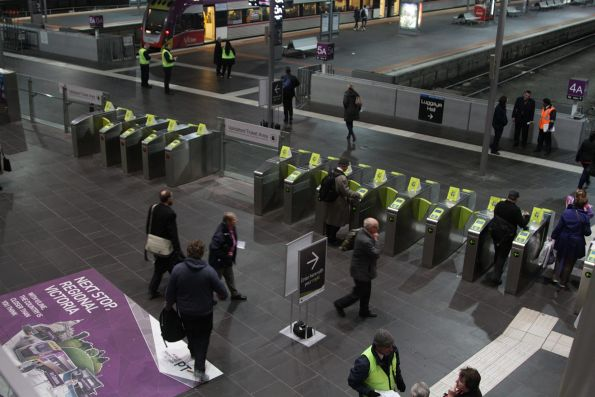 Myki gates setup as entrance and exit streams at the Collins Street end of Southern Cross
