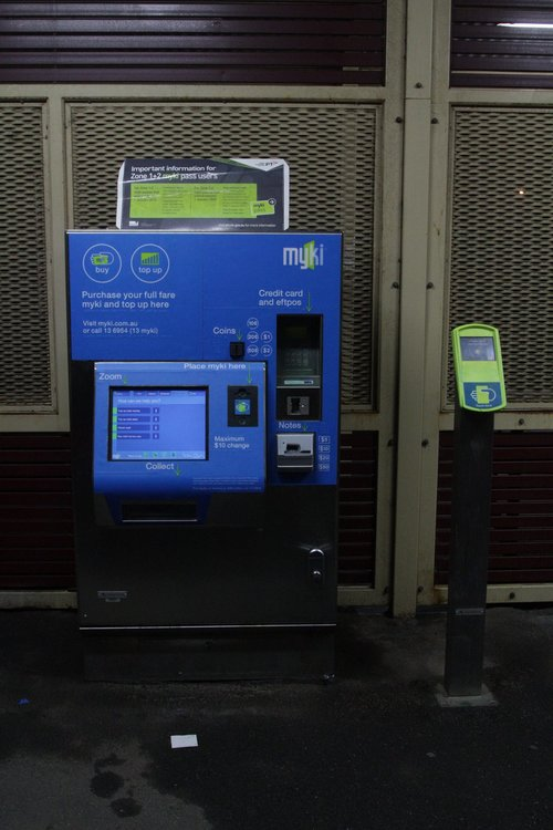 Myki reader sits beside a myki machine at Deer Park