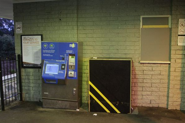 Myki machine and 'bumblebee box' on the platform at Ringwood East
