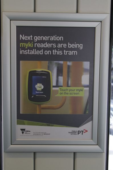 Poster stating that new Vix myki readers have been installed onboard tram E.6008