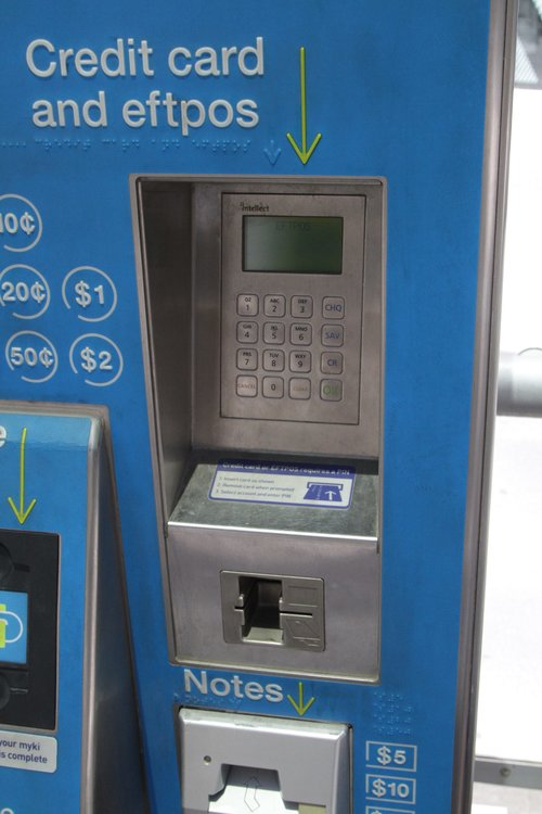 One style of EFTPOS payment terminal fitted to a myki CVM - deeply recessed into the machine