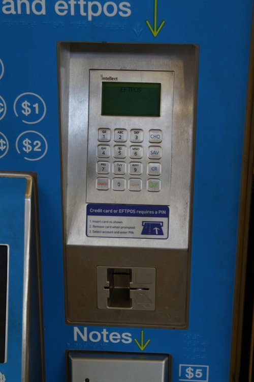 Second style of EFTPOS payment terminal fitted to a myki CVM - almost flush with the front of the machine
