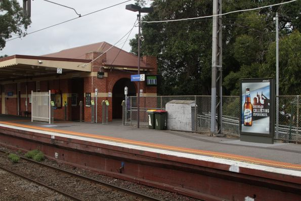 Advertising screen moved to make room for an additional exit at Newmarket platform 2