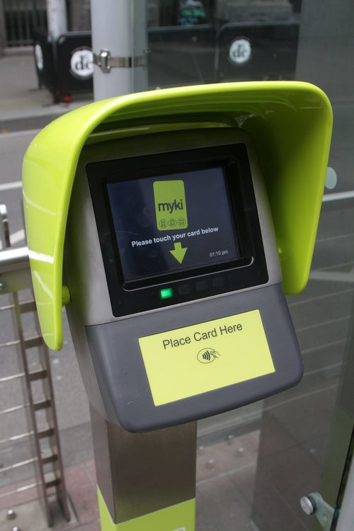 New Myki QT (Quick top up) device at the Bourke and Spencer Street tram stop