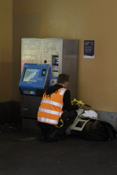 'Upgrading' a Myki machine by changing the stickers on the front