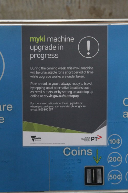 'Upcoming upgrade' notice on a Myki machine