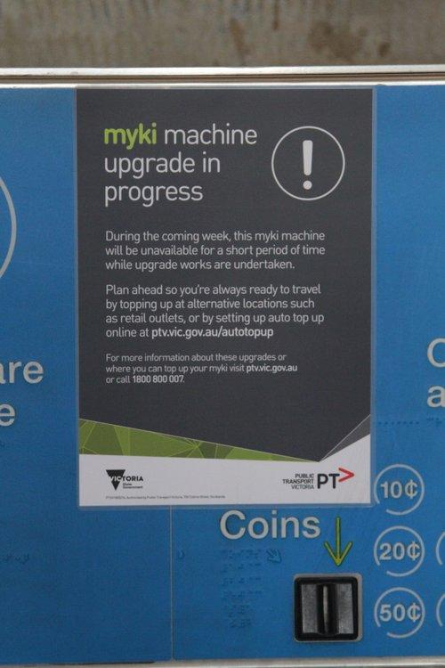 'Upcoming upgrade' notice on a Myki machine