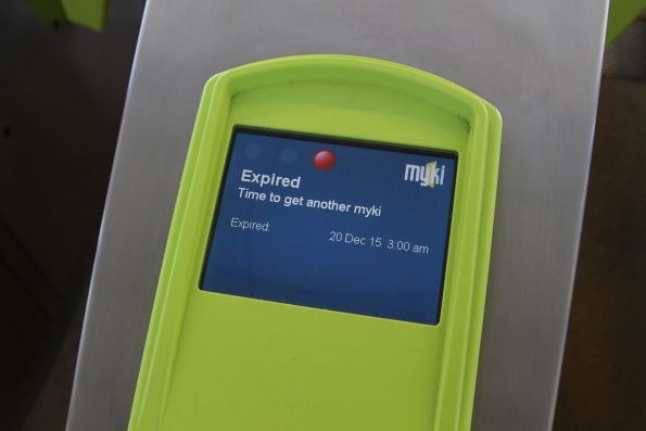 'Expired - time to get another myki' message on a myki reader